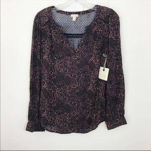 NWT HINGE | Popover Print Floral Blouse Top Sz. S